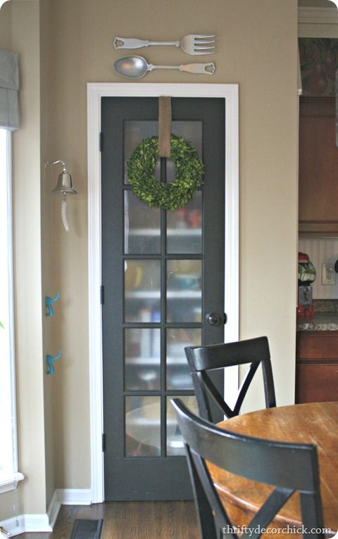 prodigious Cute Pantry Doors Part - 11: Lots of cute items just in this one pic. But I love the bell next to the  door. Maybe outside on back porch?