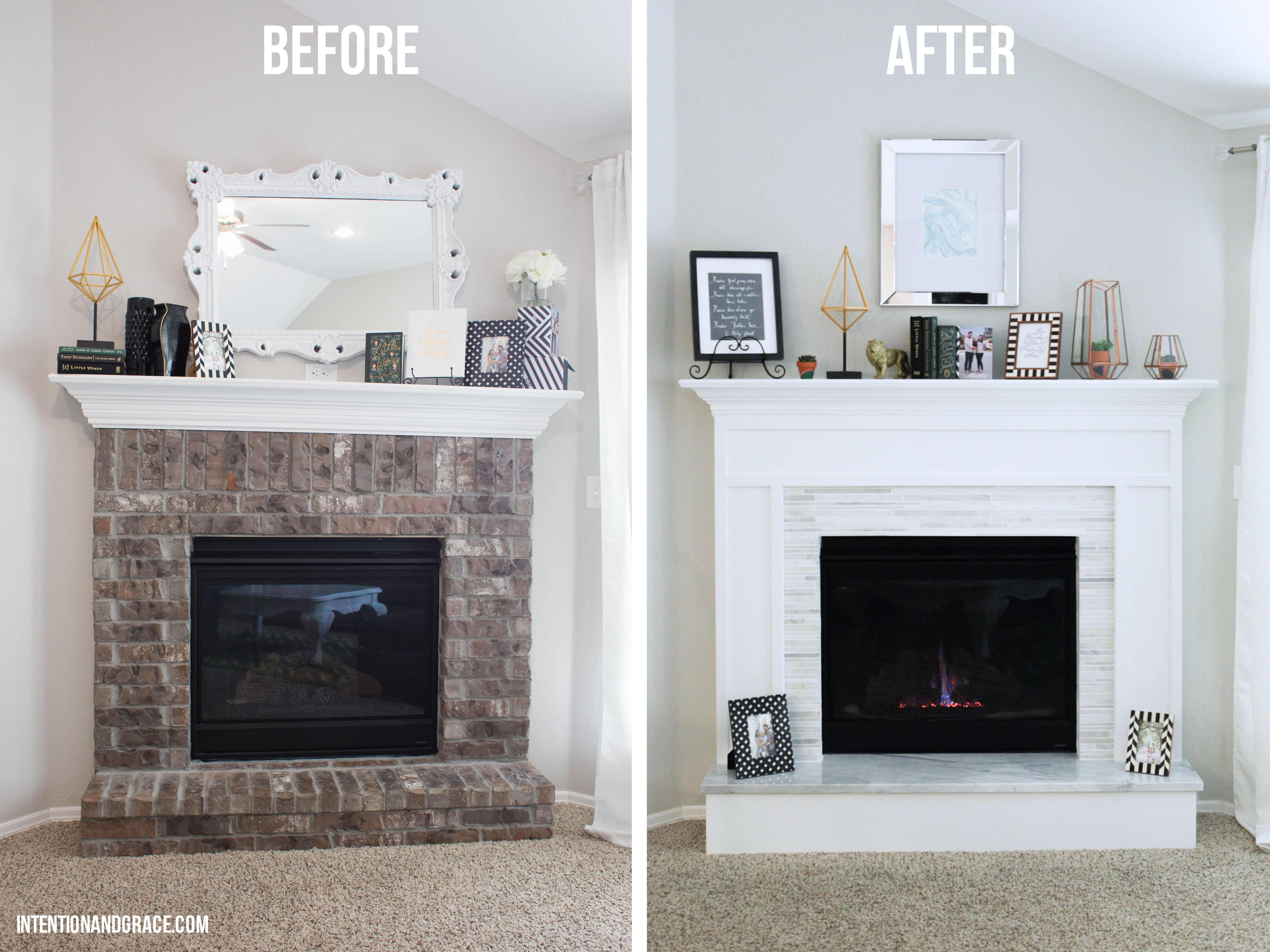 Modern Fireplace Makeover Intention & Grace Brick