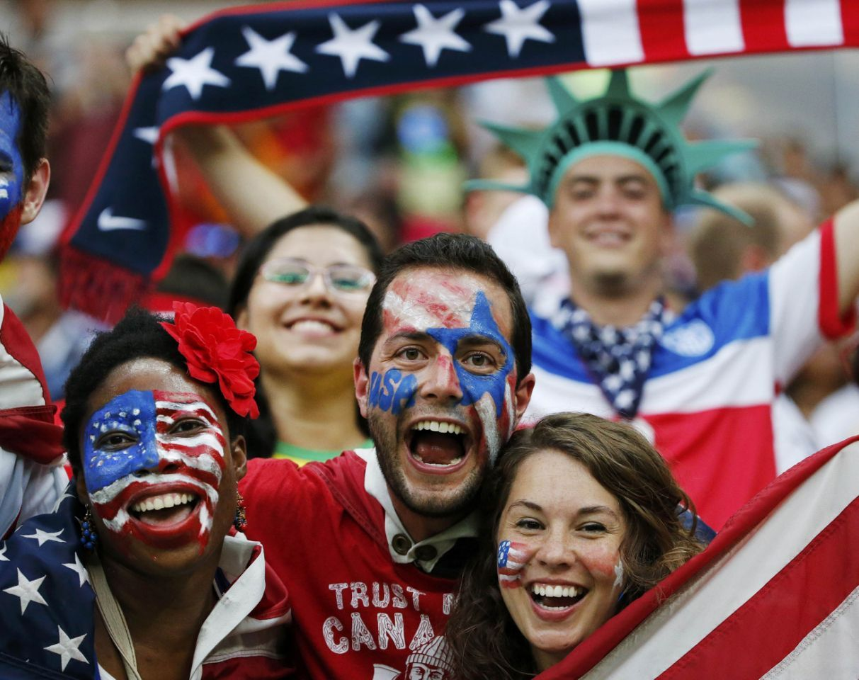 Fans of the U.S. cheer before their 2014 World Cup G