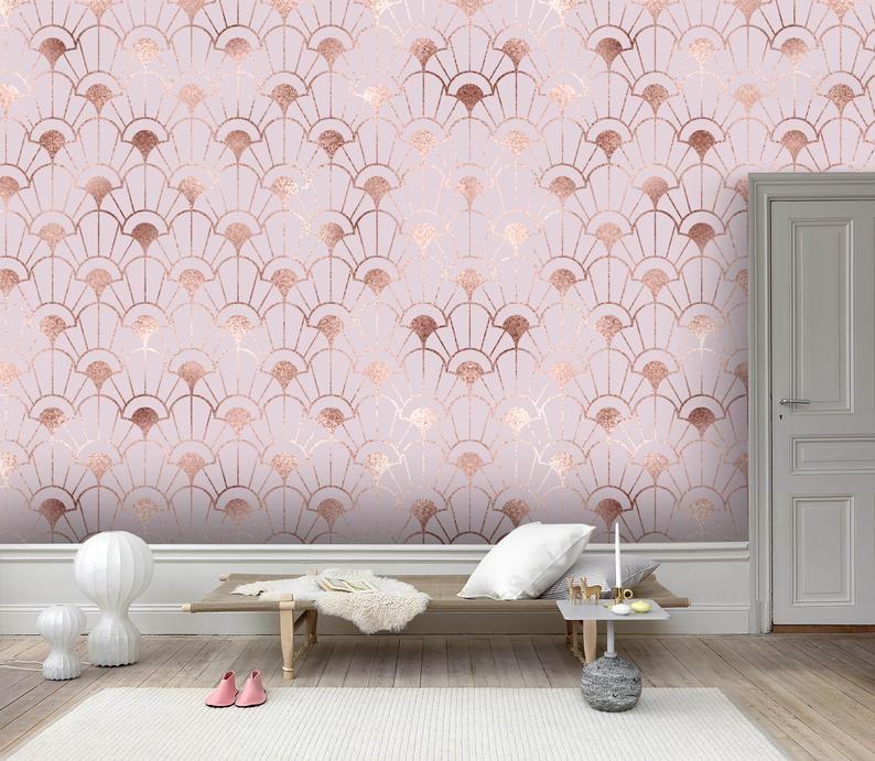 3d Dreamy Gold Foil Pink Pattern Wallpaper Removable Self Etsy Pattern Wallpaper Wall Patterns Mural Wallpaper