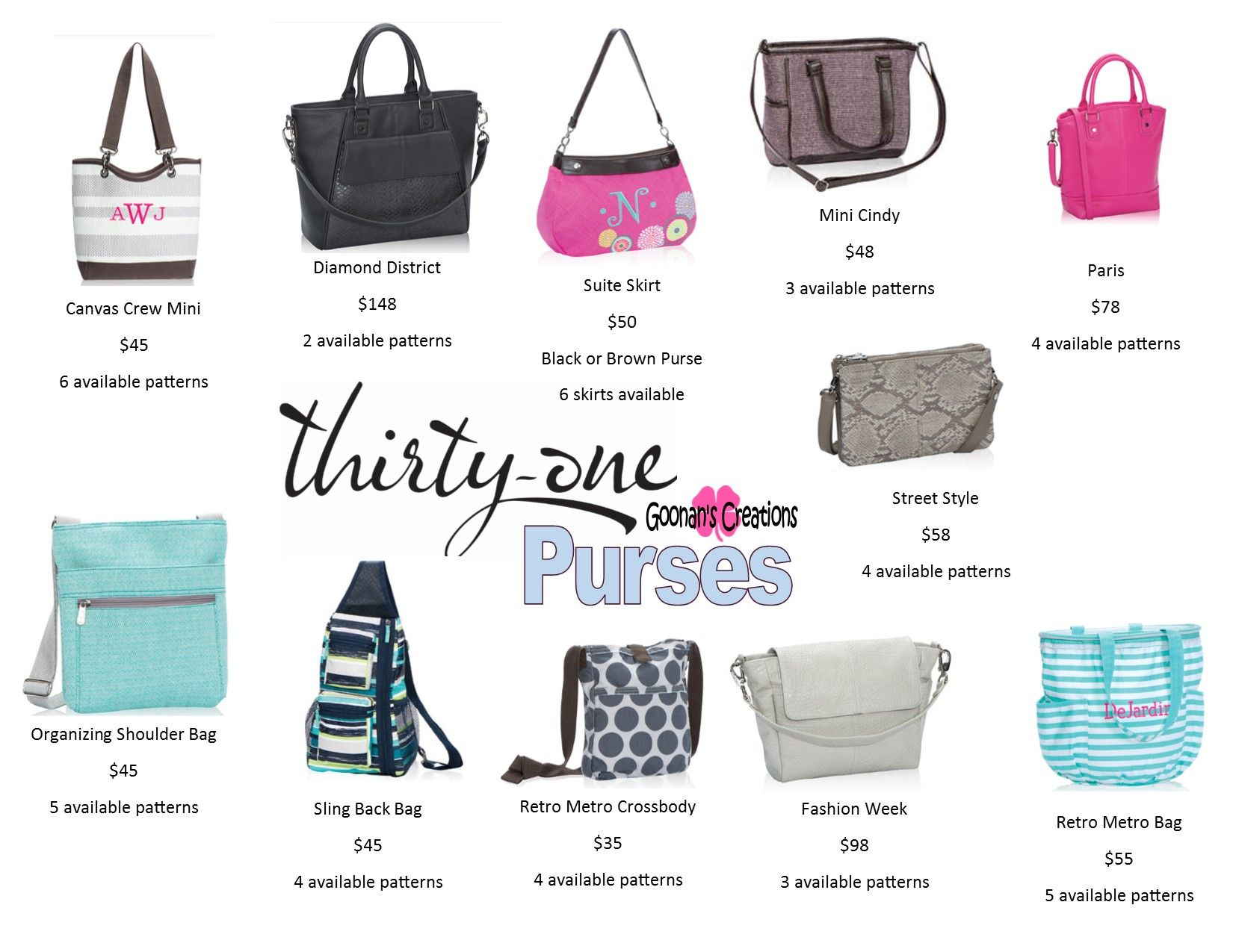 Thirty One Purses: Canvas Crew Mini, Diamond District, Suite Skirt ...