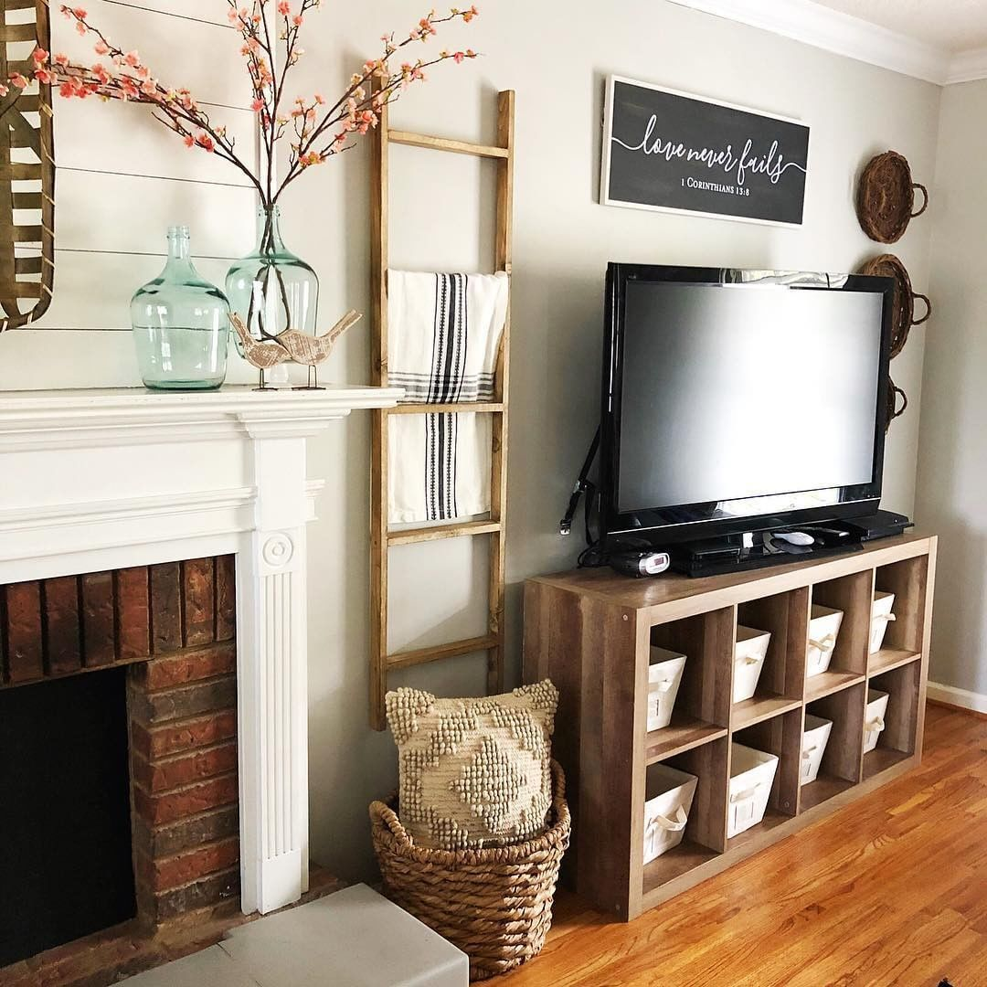 Twistedcottonfarmhouse Uses Her Bhglivebetter 8 Cube Organizer Not Only For Storage But As A Tv Living Room Tv Stand Living Room Storage Cube Storage Decor