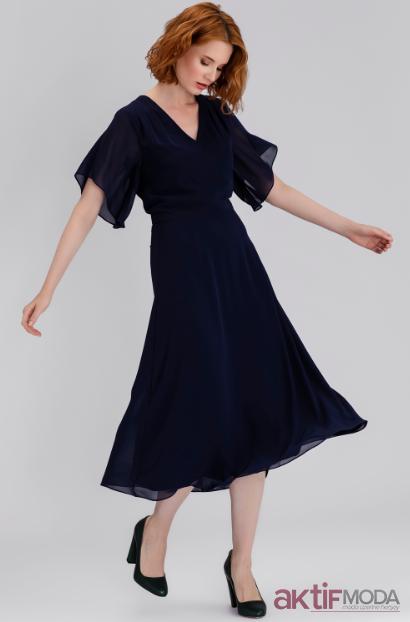 Yarim Kollu Klos Elbise Modelleri 2019 Elbise Modelleri Elbise Moda