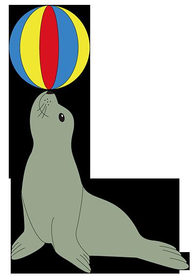 basteln eines seehundes der im zirkus einen ball