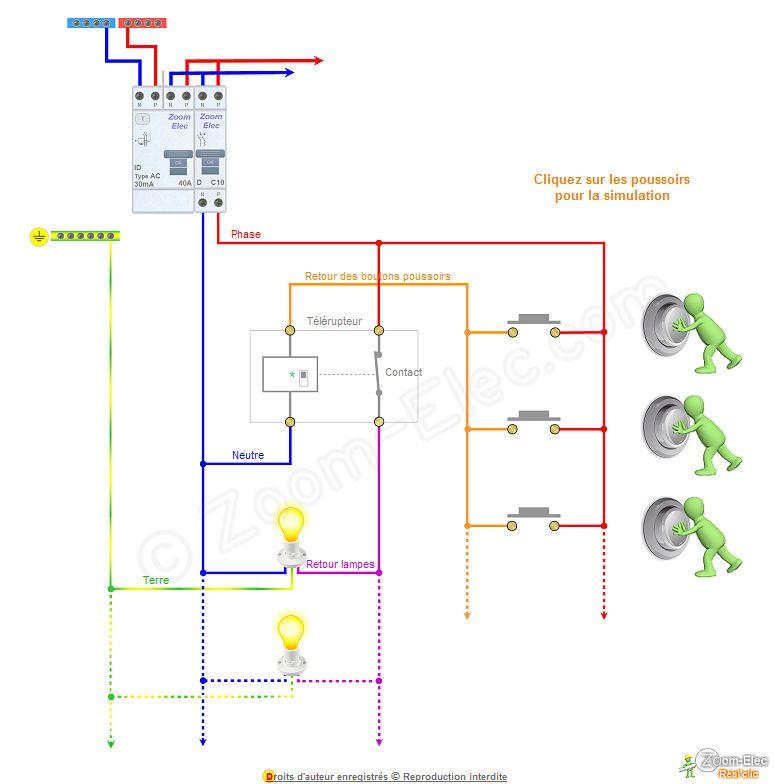 Schema telerupteur 4 fils schema electric pinterest - Schema electrique telerupteur ...