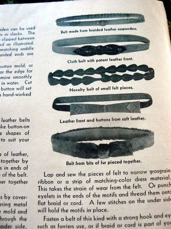 """belts from leather or felt from 1940s """"MAKE OVERS FROM LEATHER FUR & FELT"""""""
