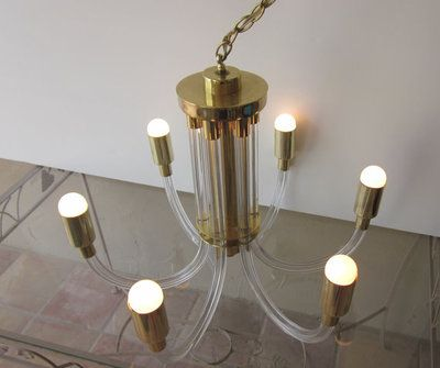 Hollywood Regency 6 Arm Lucite And Brass Chandelier