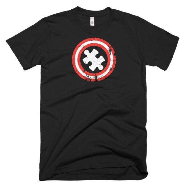 Distressed Autism T-Shirts Captain Autism Superhero Gift Short sleeve men's t-shirt