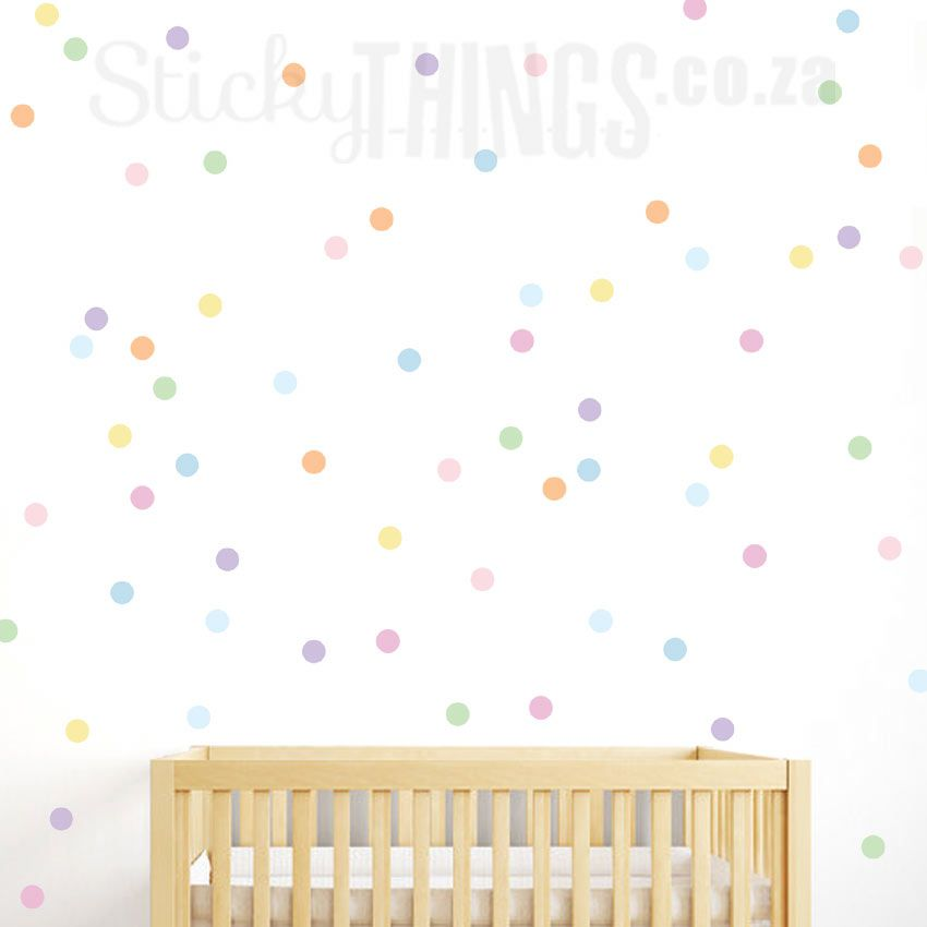 "9 COLORS bedroom kids room stickers POLKA DOT /"" HEART /"" Wall Decals 70"