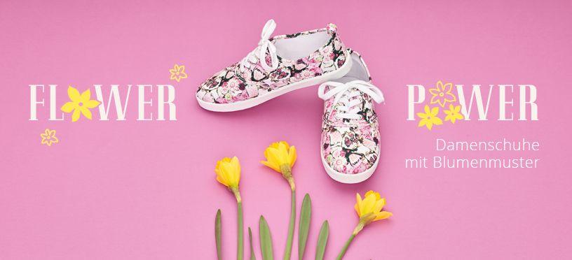 Damenschuhe mit Blumenmuster machen Lust auf den Frühling