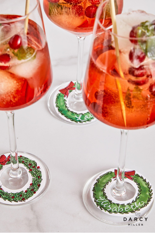 Holiday Wreath Wine Charm Darcy Miller Designs Wine Charms Holiday Wine Wine