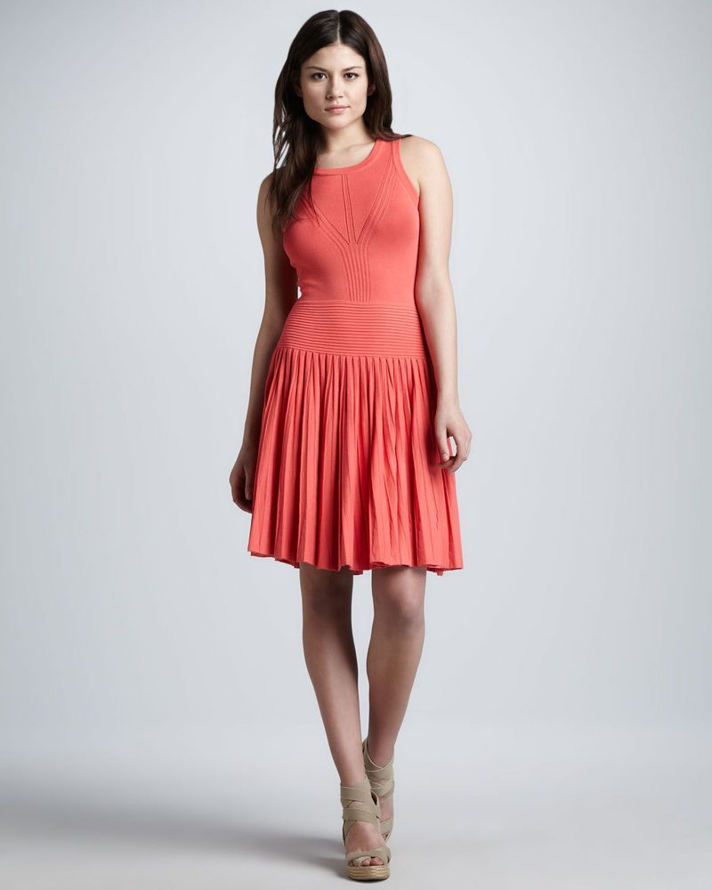 NEW MILLY 2013 Josephine Pleated Knit Dress #110 Coral SIZE 8 ...