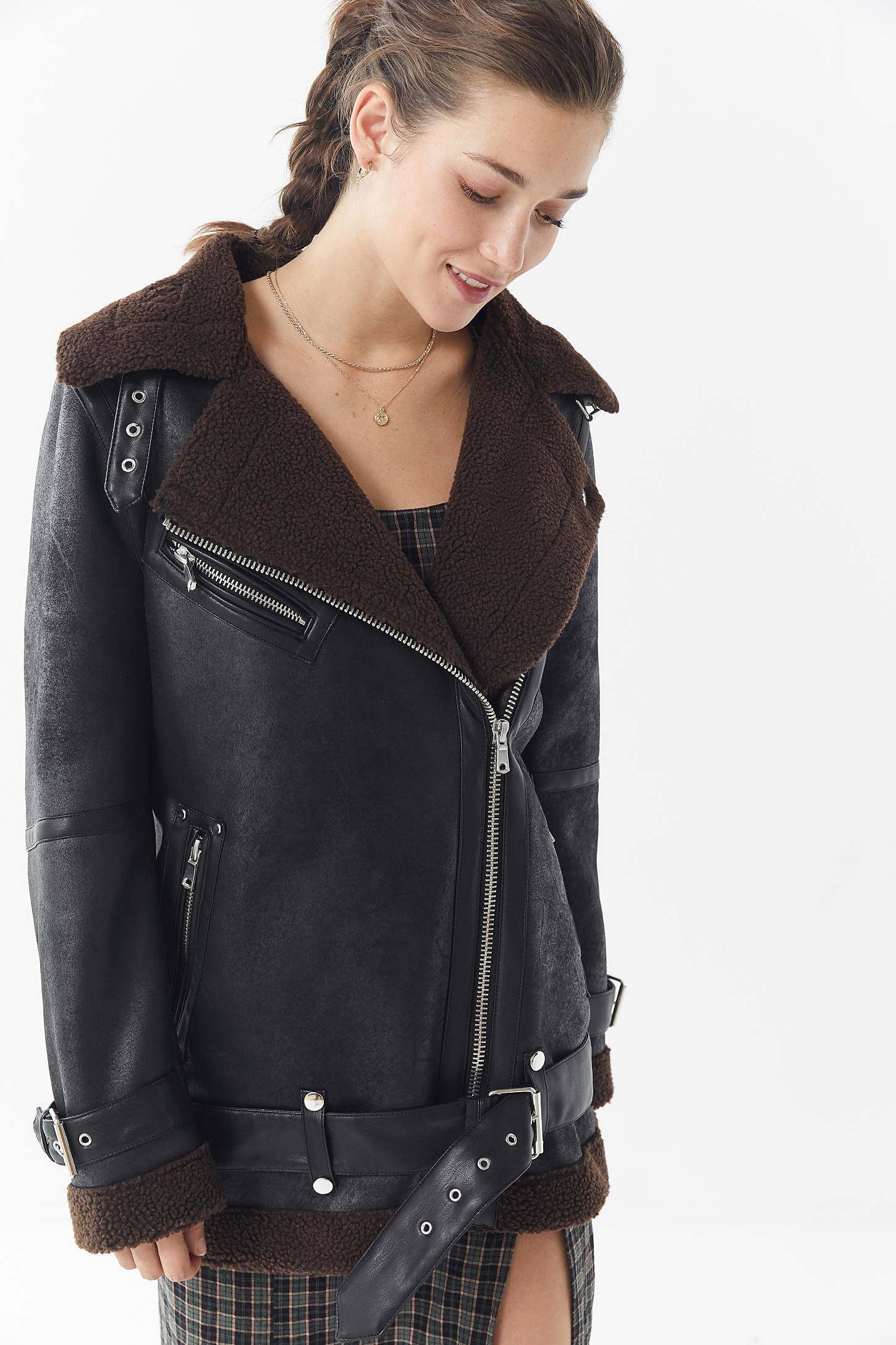 UO Oversized Faux Leather Aviator Jacket Aviator jackets