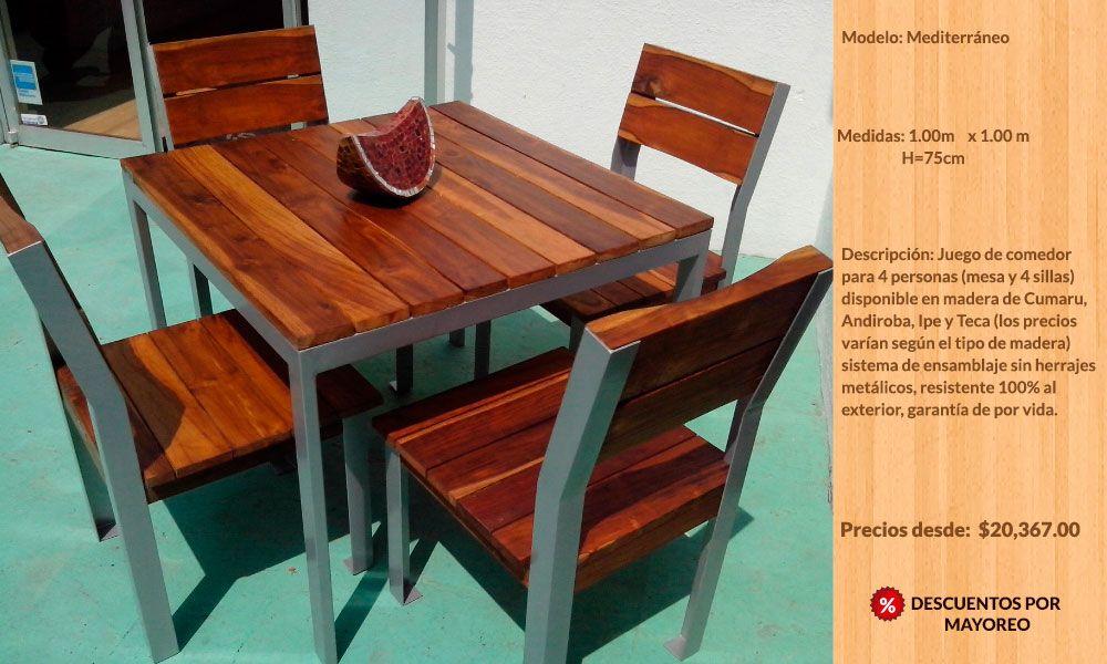 Muebles para exterior jardín de madera teca Guadalajara, México ...