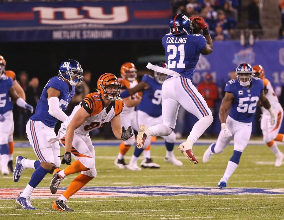 a4ac24ac ... nike jersey 90 black fashion game nfl new york Bengals - Giants Safety Landon  Collins grabbed his 4th interception in the last ...