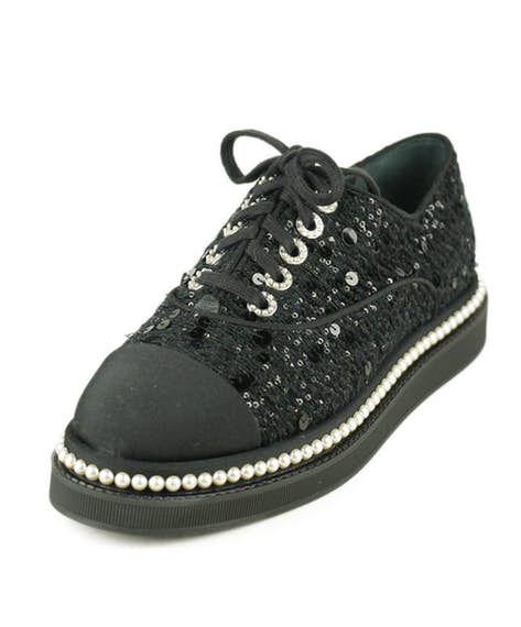 1fbea51b1981 Chanel Black Sequins Tweed Pearl Trim Shoes Sz 38