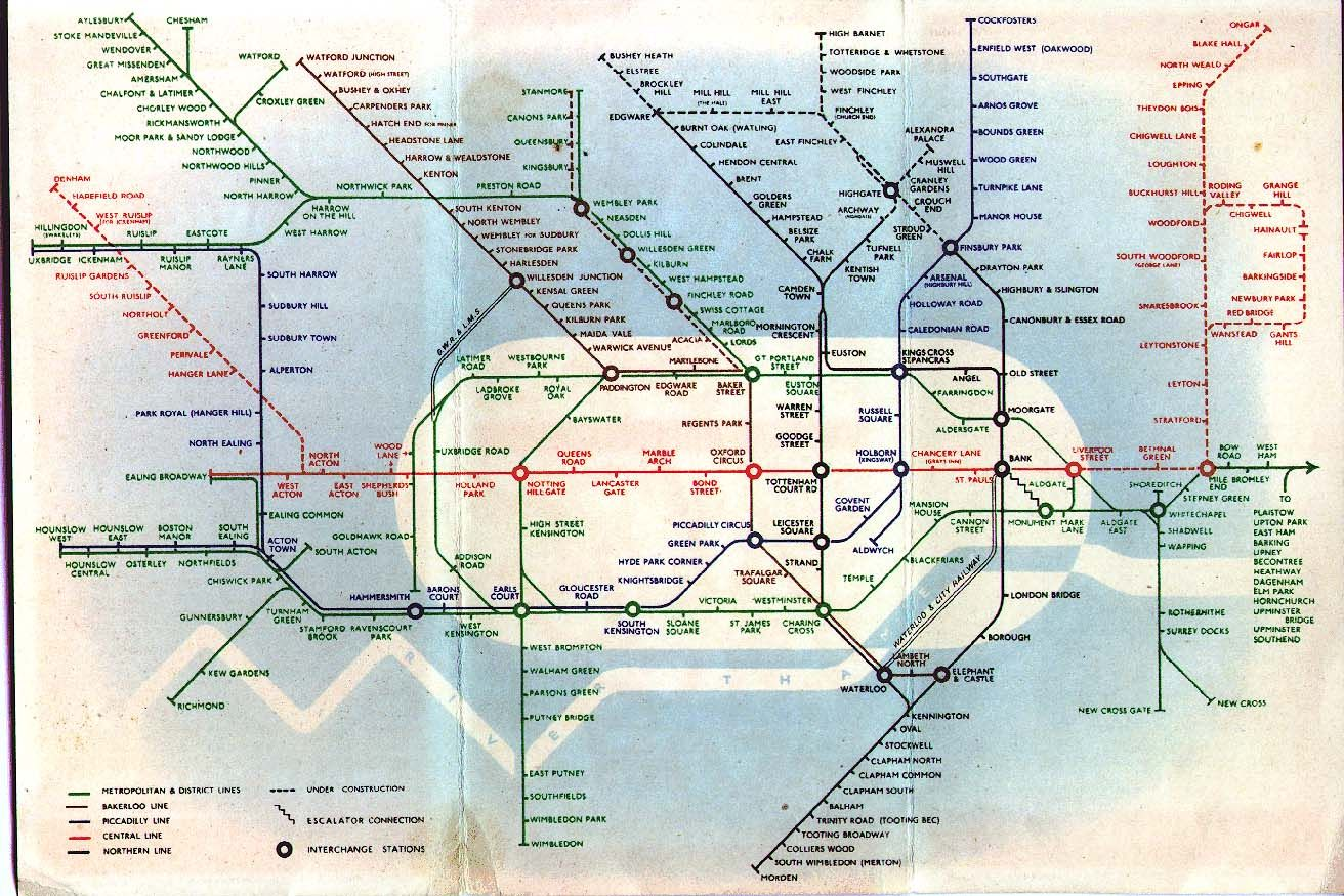 Subway Map Of London.London Underground Map 1939 Notice The Inclusion Of The City