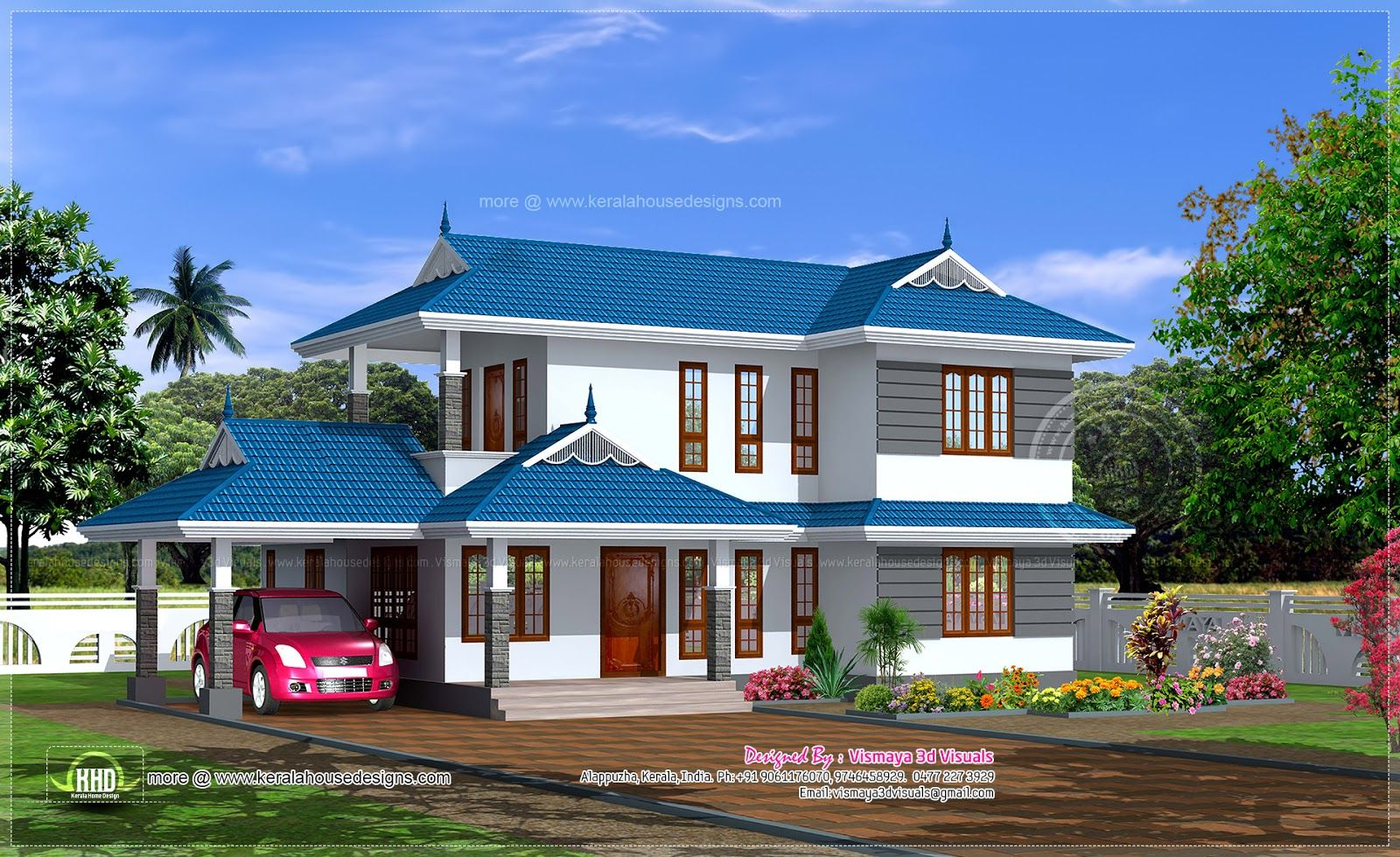 Kerala houses blue google search dream home for Dream home kerala