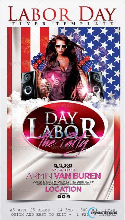 GraphicRiver Labor Day Flyer Template Diseño Pinterest Flyer