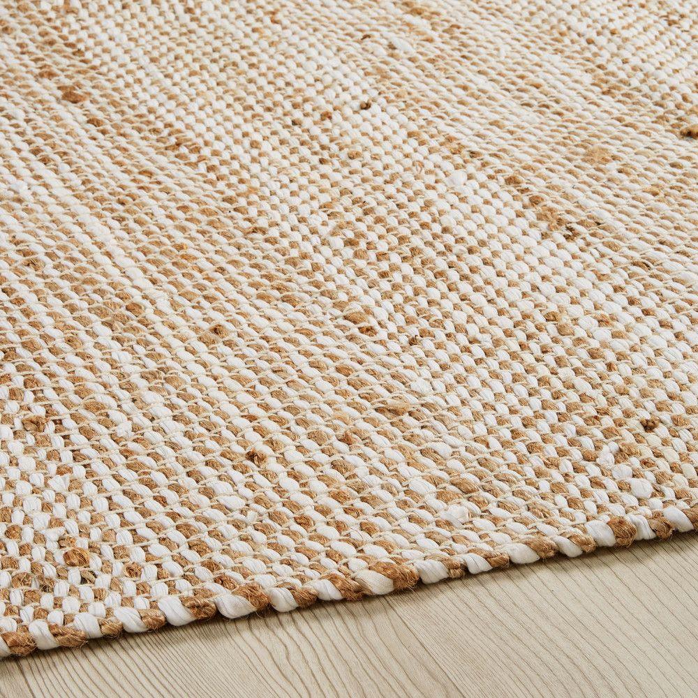 cute large discount latest discount Tapis en coton et jute beige 200x300cm | Tapis coton, Tapis ...