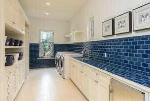 Traditional Laundry Room with Eastvale Floating Wall Shelf, Flush, Fireclay Tile Adriatic Sea 3 x 6, Subway Tile, One-wall