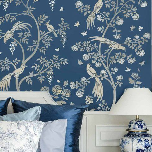 Birds and roses chinoiserie wall mural panel from cutting - Blue bedroom wallpaper ideas ...