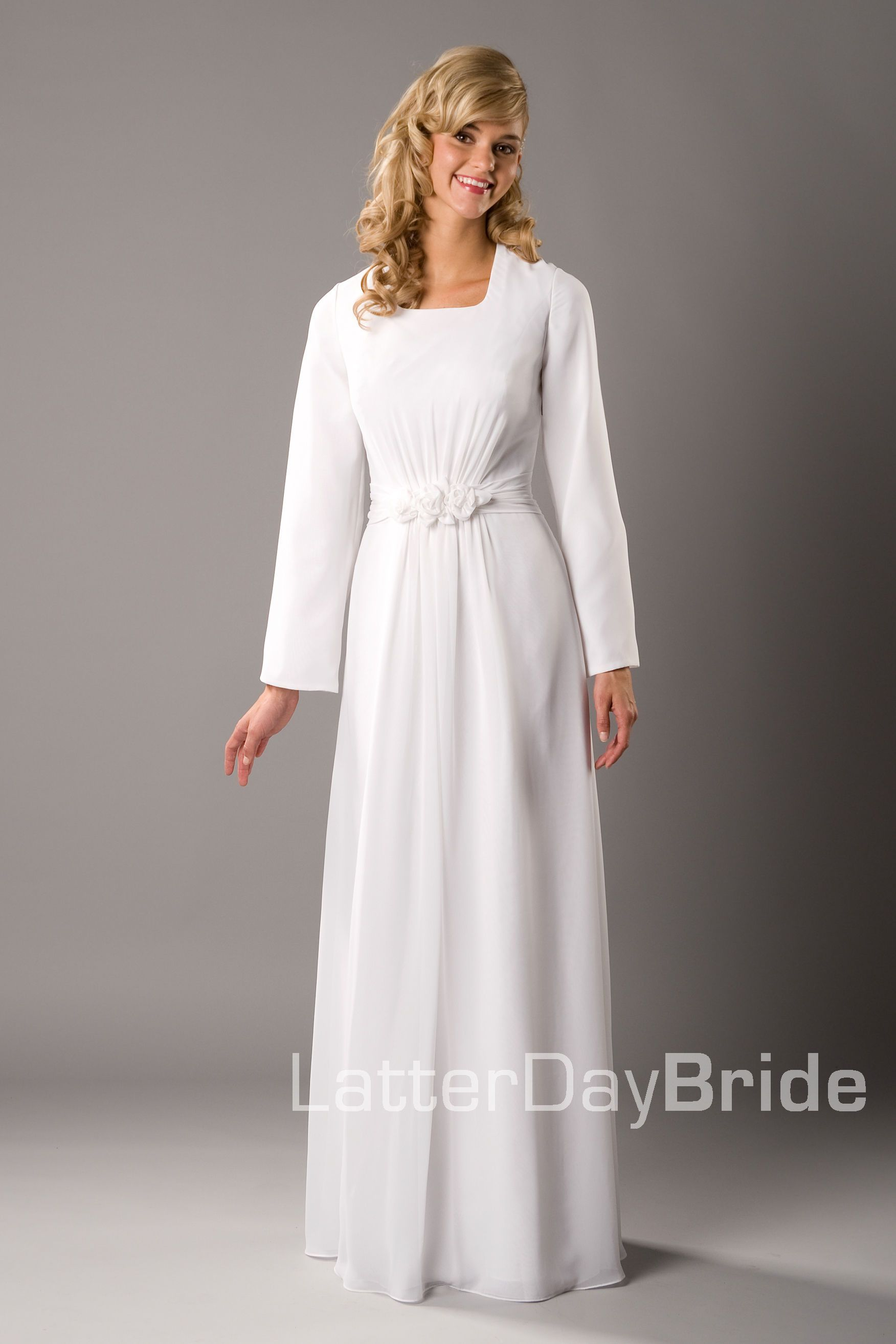 Modest wedding dress brigham latterdaybride prom for Mormon modest wedding dresses