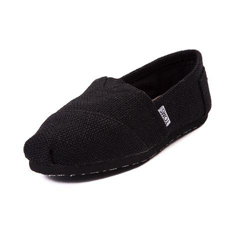Womens TOMS Classic Burlap Slip-On Casual Shoe, Black | Journeys Shoes