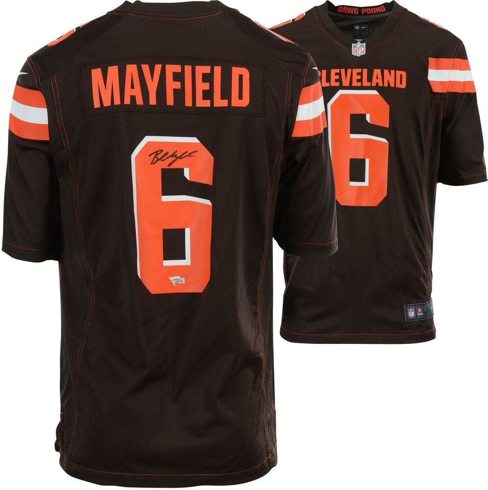 Baker Mayfield Cleveland Browns Autographed Nike Brown Game Jersey Sportsmemorabilia Autograph Football Browns Game