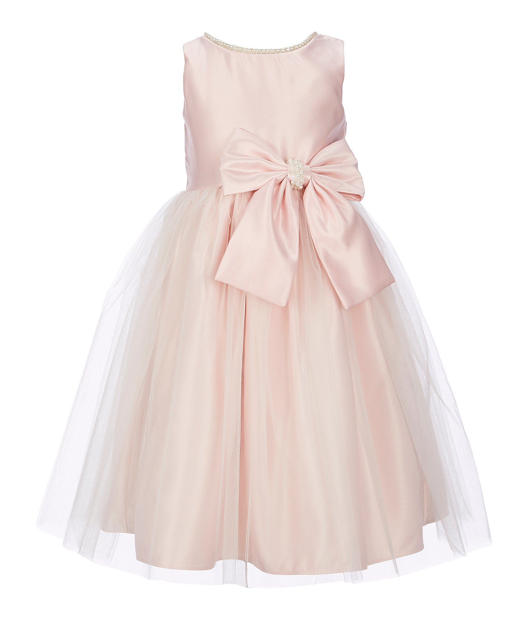 New Flower Girls Pink Satin Tulle Pleated Dress Wedding Easter Christmas 711