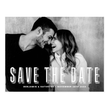 Modern Layered Typography Photo Save The Date Postcard