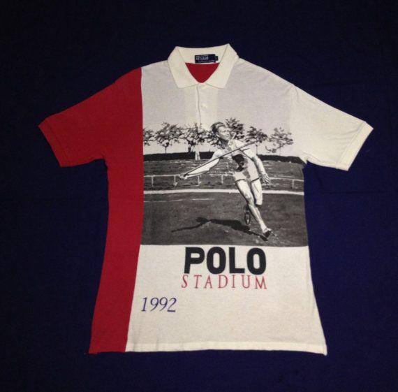 bf2f998c015 Vintage POLO STADIUM 1992 Javelin Ralph Lauren Snow Beach 90s T Shirt L