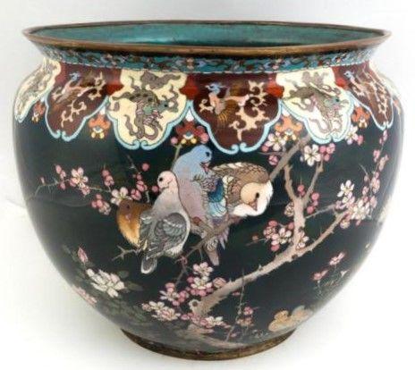 Doves Cloisonne Cache Pot 11''H 13''D Japan