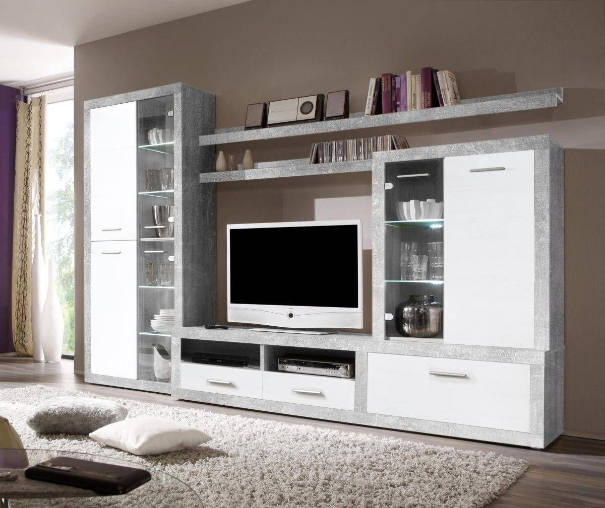 Wohnwand CanCan Beton Optik/weiß ▷ online bei POCO kaufen