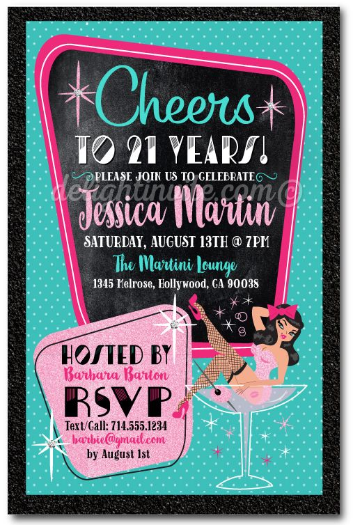 Rockabilly pinup girl martini glass 21st birthday invitations rockabilly pinup girl martini glass 21st birthday invitations printed rockabilly theme 21st birthday invitations filmwisefo Gallery