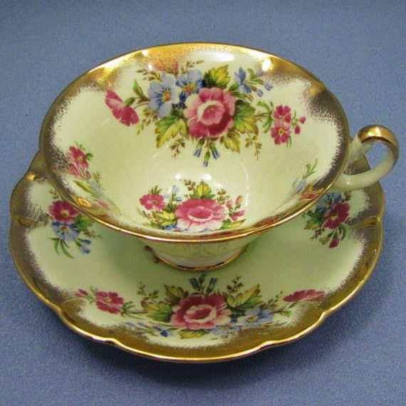 ENGLISH Foley Tea Cup and Saucer, MINT Green and Gold with Pink and Blue Flowers, C. 1948 - 1963.
