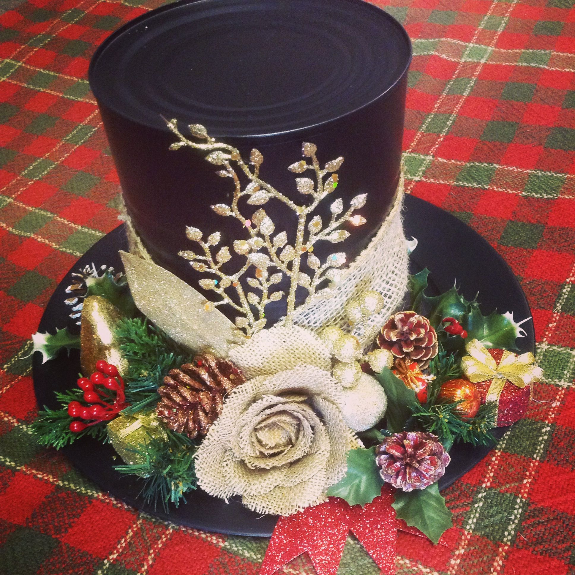 coffee can snowman hat Xmas crafts, Christmas crafts