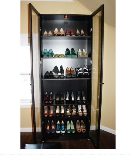 Billy Bookcase Turned Into Shoe Storage   Find An Old Curio Cabinet And  Line The Windows