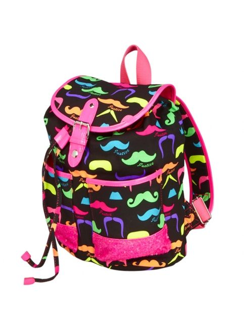 Small Mustache Rucksack | Girls Fashion Bags & Totes Accessories ...