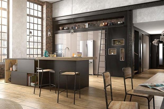 Une cuisine ouverte avec un long bar