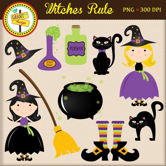 Halloween Clipart Halloween Witch Clipart Cute Digital Clipart Personal Use Commercial Use Card Design Halloween Clipart Witch Clipart Halloween Clips