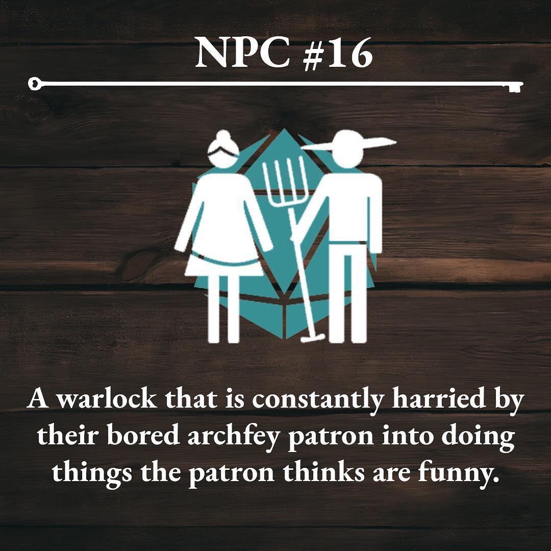 Image may contain text that says 'NPC 16 A warlock that