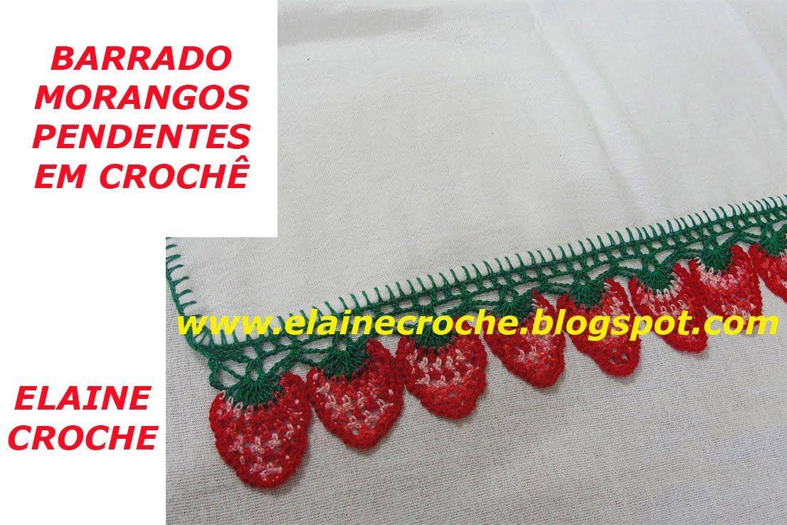 Barrado Morangos Pendentes Em Croche Com Imagens Bico De