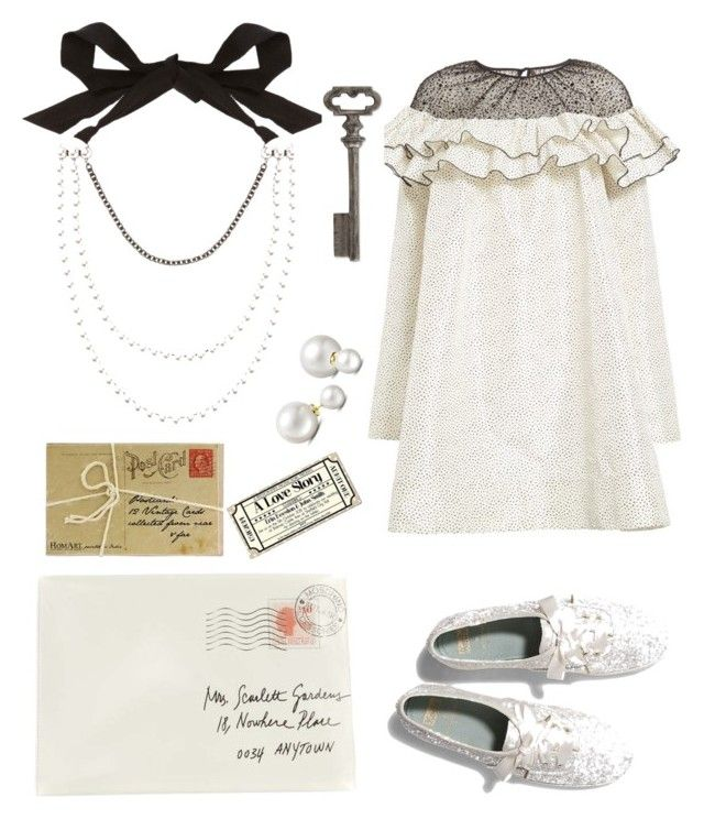 """love letter"" by uvhaa ❤ liked on Polyvore featuring Isa Arfen, Moschino, Keds, Lanvin, Dot & Bo, Allurez, Thirstystone, vintage and pearl"