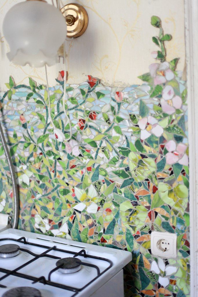 Mosaic Wall In Floral Pastels Mosaic Broken China Work