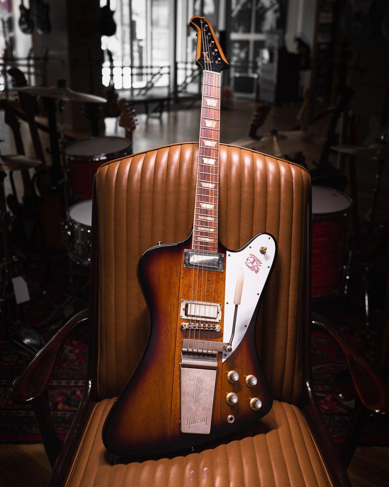 Gibson Custom 1963 Firebird V Vintage Sunburst Light Back Vos M2m W Maestro Vibrola Serial 190125 In 2020 Gibson Firebird Guitar Vintage Electric Guitars