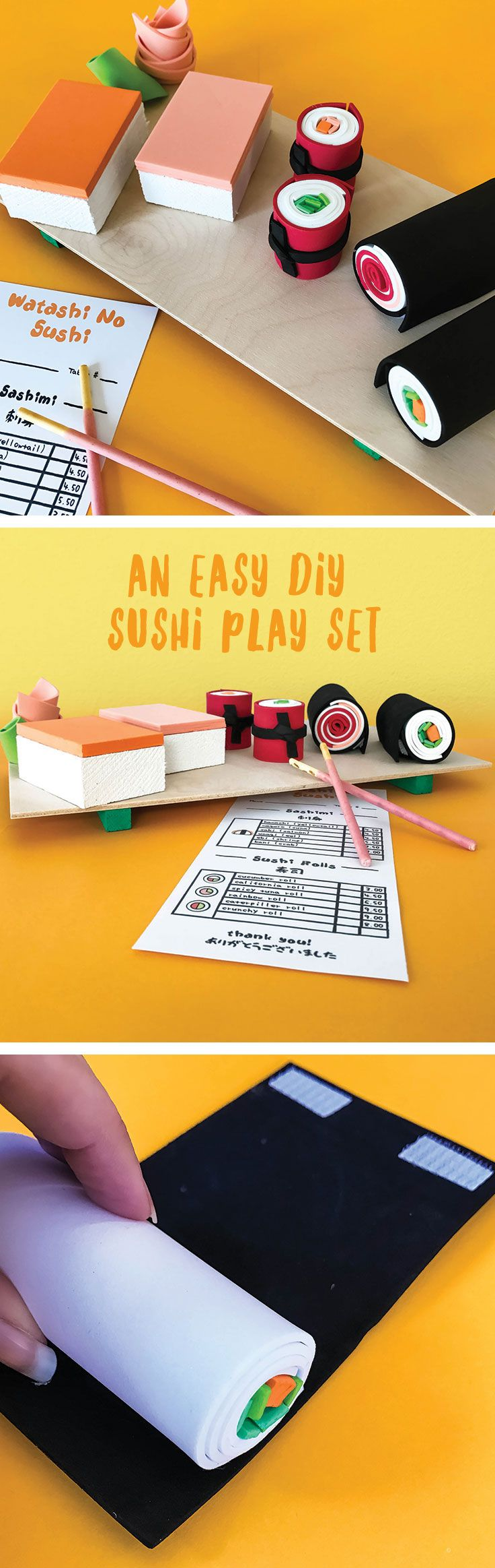 4bc7939814d9 Make an easy DIY sushi play set complete with a printable order menu.  Perfect for your kid s fine motor development and pretend play!