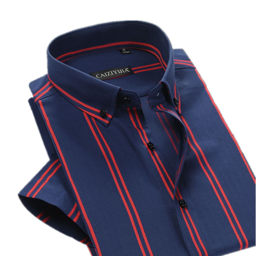 02bc1a9163 Brand British Style Double Striped Shirt Men Short Sleeve Casual Cotton  Fashion Formal Business Party Male