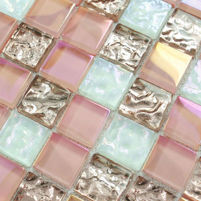 crystal glass tile sheets square iridescent mosaic metal