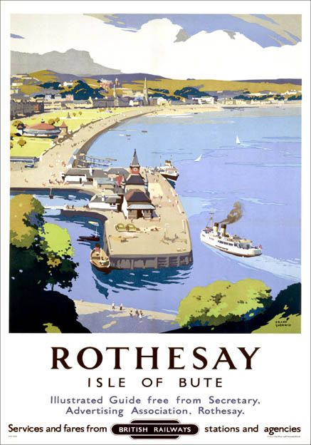 TU44 Vintage Rothesay Isle Of Bute British Railways Framed Travel Poster A3//A4